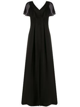 Karl Lagerfeld sheer flutter sleeve gown - Black