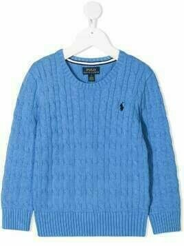 Ralph Lauren Kids round-neck cable-knit jumper - Blue