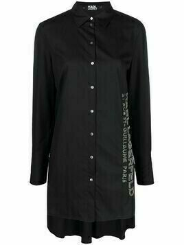 Karl Lagerfeld embellished poplin tunic shirt - Black