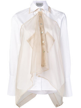 Balossa White Shirt long sleeve shirt with sheer overlay