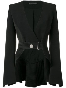 David Koma belted cropped jacket - Black