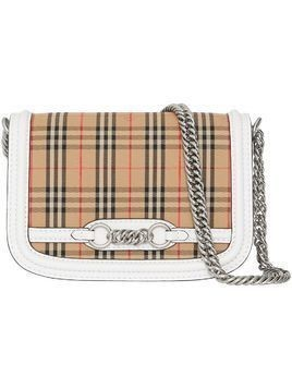 Burberry The 1983 Check Link Bag with Leather Trim - White