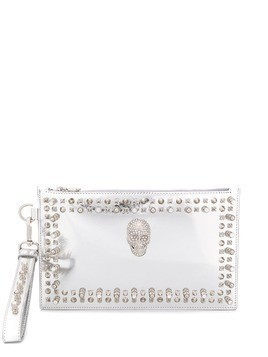 Philipp Plein crystal skull clutch bag - SILVER