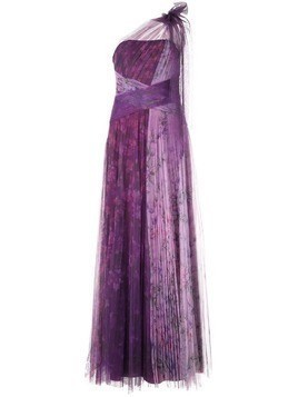 Marchesa Notte floral pleated gown - Purple