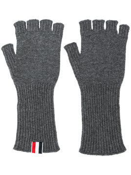 Thom Browne Fingerless Cashmere Gloves - Grey