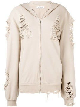 Almaz oversized distressed hooded jacket - Neutrals