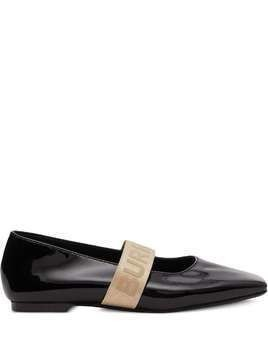 Burberry Kids patent leather ballerinas - Black