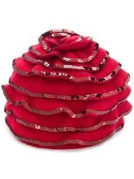 Le Chapeau sequin embellished berret - Red