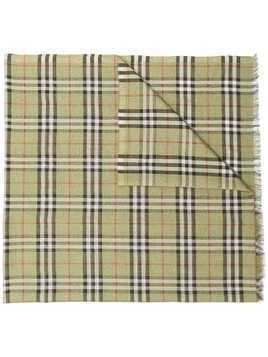 Burberry Check metallic thread scarf - Green