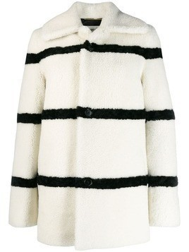 Saint Laurent striped shearling coat - White