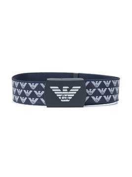 Emporio Armani Kids monogram-pattern cotton belt - Blue