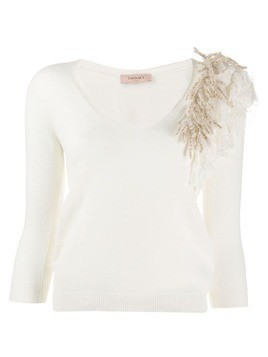 Twin-Set feather v-neck jumper - White