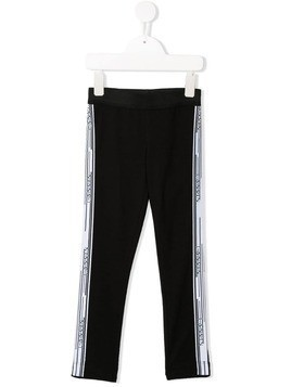 Lanvin Enfant logo print side panel leggings - Black
