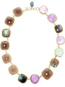 Ram 18kt gold amethyst, aquamarine, labradorite and smoky quartz necklace - Multicolour