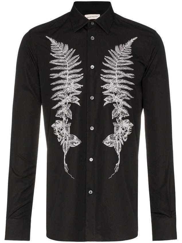 Alexander McQueen embroidered fern shirt - 1000 BLACK