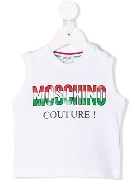 Moschino Kids Couture! tricolour logo tank - White
