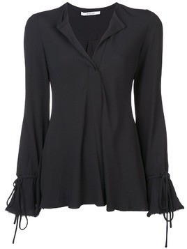 Derek Lam 10 Crosby Long Sleeve Button-Down Blouse with Bell Sleeves - Black