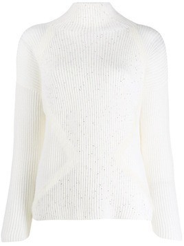 Lorena Antoniazzi sequin embellished ribbed knit sweater - White