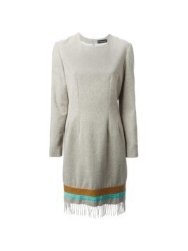 Jean Louis Scherrer Vintage fringed hem dress - Nude&Neutrals
