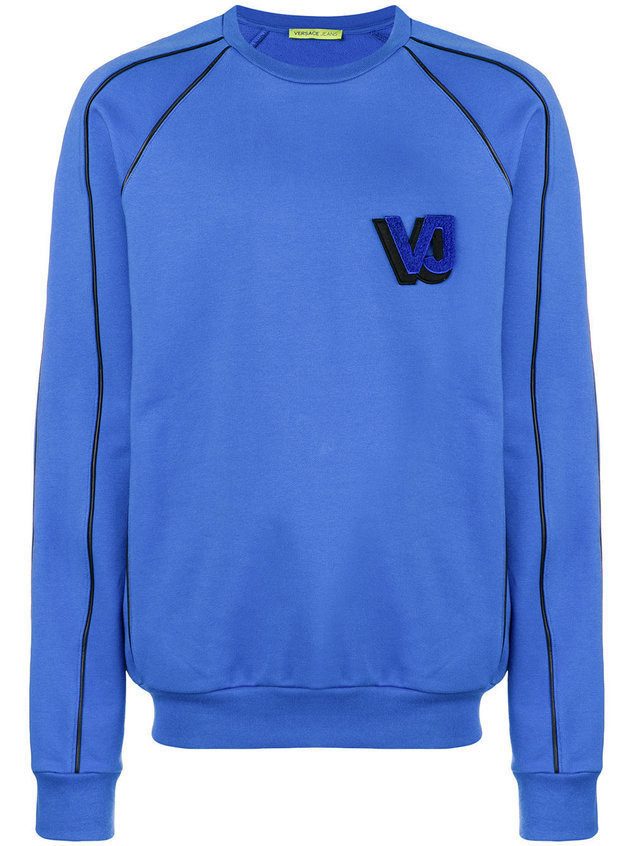 Versace Jeans flocked logo embroidered sweatshirt - Blue
