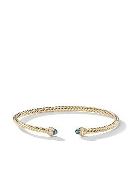 David Yurman 18kt yellow gold Cable Spira topaz cuff - 88AIBDI
