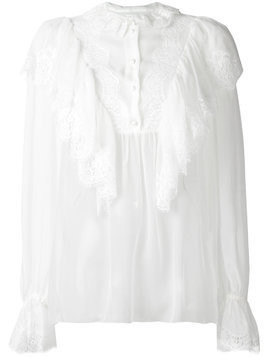 Dolce & Gabbana ruffled lace detail blouse - White