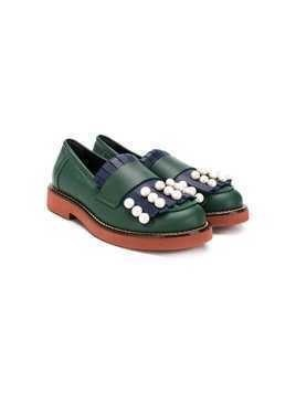 Marni Kids pearl emnbellished fringed loafers - Green