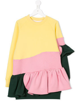 Ioana Ciolacu Kids colour-block ruffle-trim dress - Multicolour