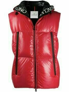 Moncler Agneaux hooded padded gilet - Red