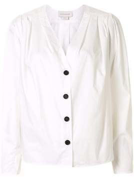 Karen Walker Arboretum V-neck cotton shirt - White