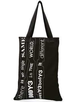 Y-3 slogan tote bag - Black