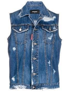 Dsquared2 ripped detail sleeveless denim jacket - Blue