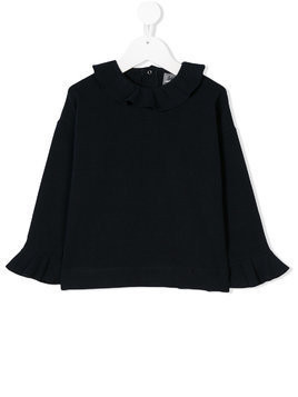 Il Gufo ruffled collar top - Blue