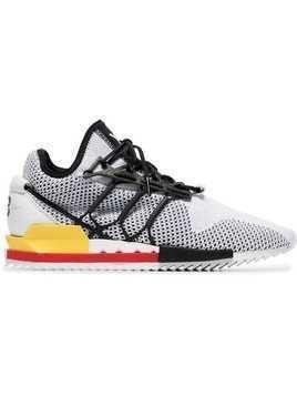 Y-3 white and red Harigane mesh leather sneakers