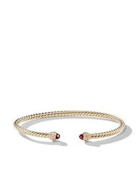 David Yurman 18kt yellow gold Cable Spira garnet and diamond 3mm cuff - 88AGADI