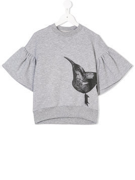 Ioana Ciolacu Kids bird print T-shirt - Grey