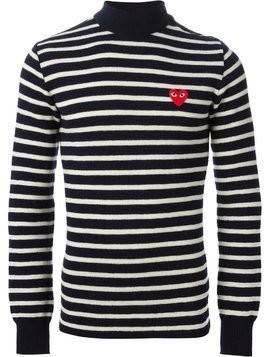 Comme Des Garçons Play embroidered heart striped sweater - Blue