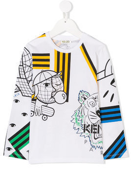 Kenzo Kids printed long-sleeves T.shirt - White