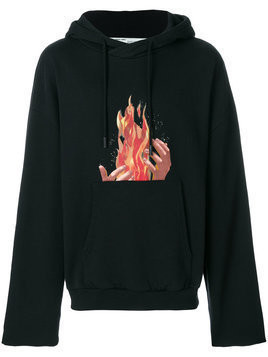 Off-White - fire print hoodie - Herren - Cotton - M - Black
