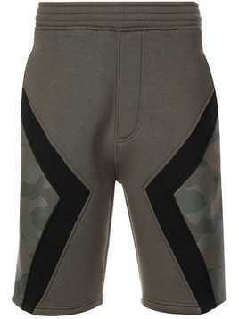 Neil Barrett paneled camo shorts - Green