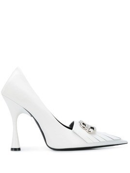 Balenciaga BB fringe pumps - White