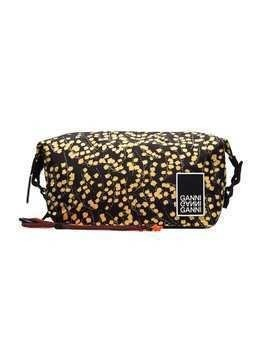 Ganni black and yellow Azalea floral print pouch