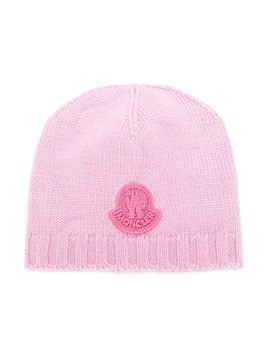 Moncler Kids logo patch beanie - Pink