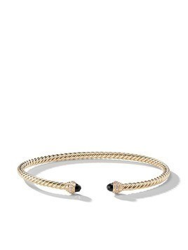 David Yurman 18kt yellow gold Cable Spira onyx and diamond cuf - 88ABODI