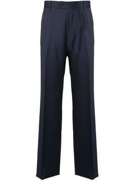 Gieves & Hawkes pleated straight leg trousers - Blue