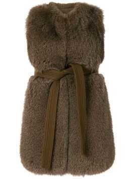 Blancha belted sleeveless shearling sleevelessjacket - Brown