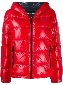 Duvetica shiny hooded puffer jacket - Red