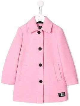 Calvin Klein Kids single breasted flared coat - Pink
