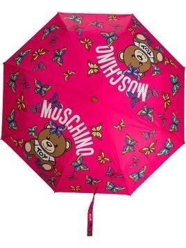 Moschino butterfly logo print umbrella - PINK