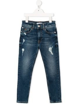 Calvin Klein Kids distressed straight-leg jeans - Blue